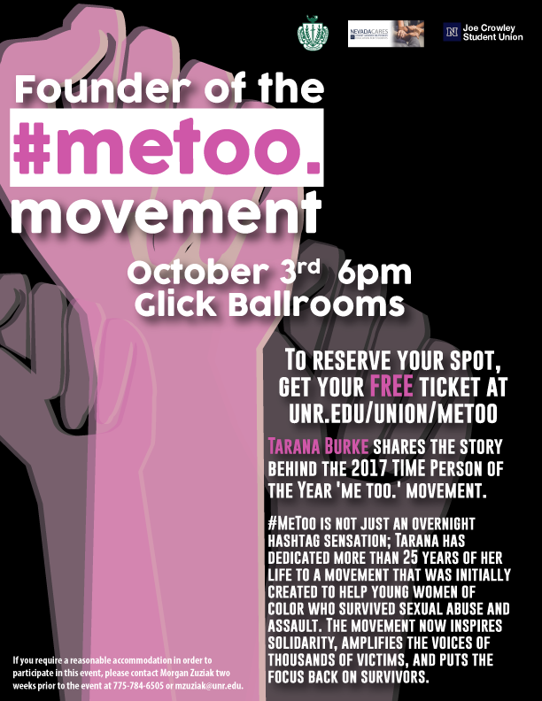 metoo Movement with Tarana Burke @ University of Reno, Glick Ballrooms